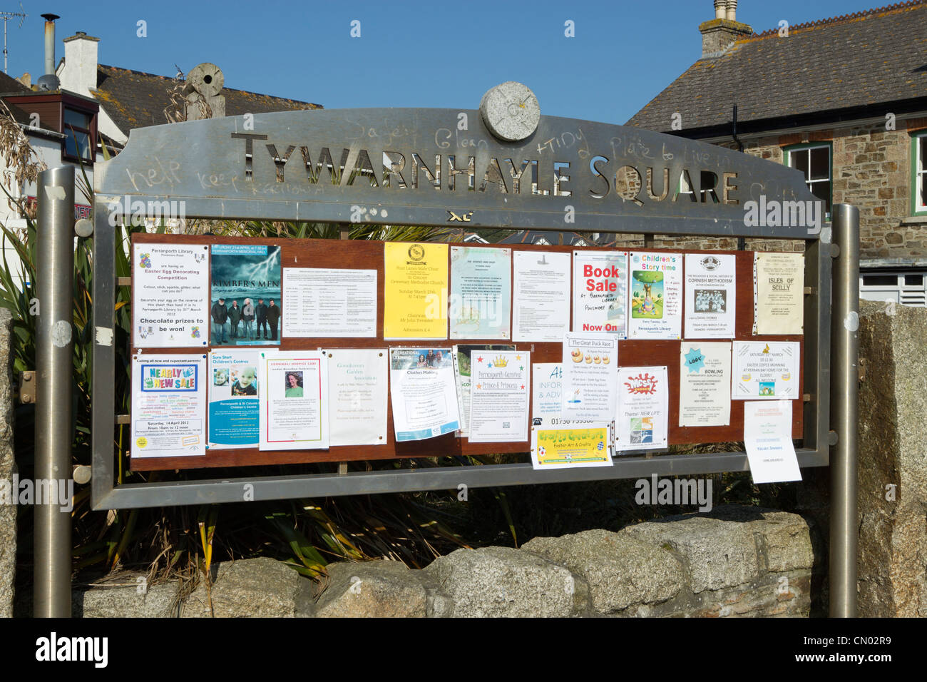Tywarnhayle Square information noticeboard in Perranporth, Cornwall UK. - Stock Image