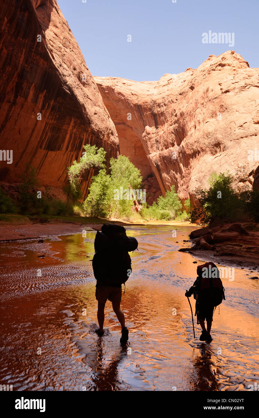 Mother and son backpacking in Coyote Gulch, a tributary of the Escalante River in Southern Utah. Stock Photo