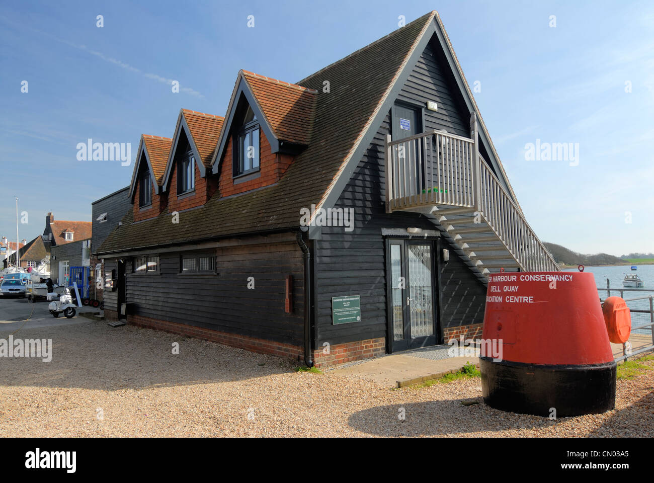 Chichester harbour conservancy education information centre Dell Quay West Sussex Uk - Stock Image