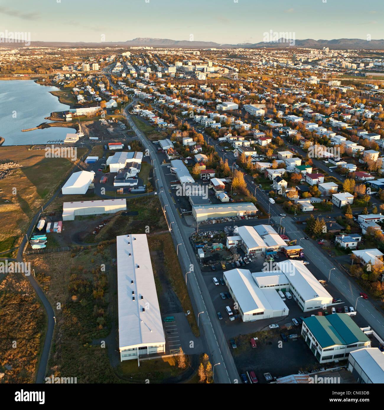 Aerial suburbs, Reykjavik,  Iceland - Stock Image