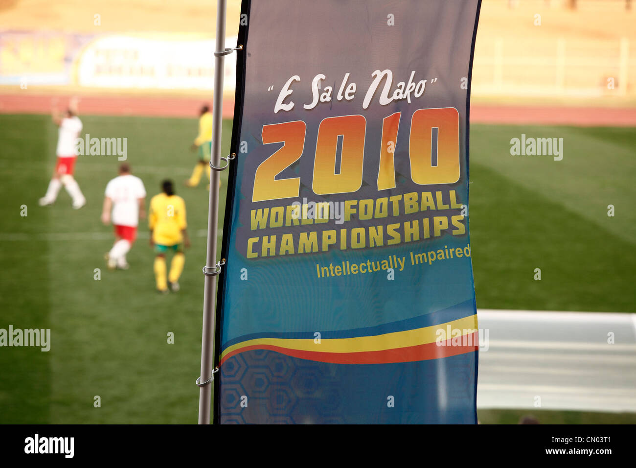 2010 World Football Championships for the Intelectually Impaired People flag in Limpopo, RSA - Stock Image