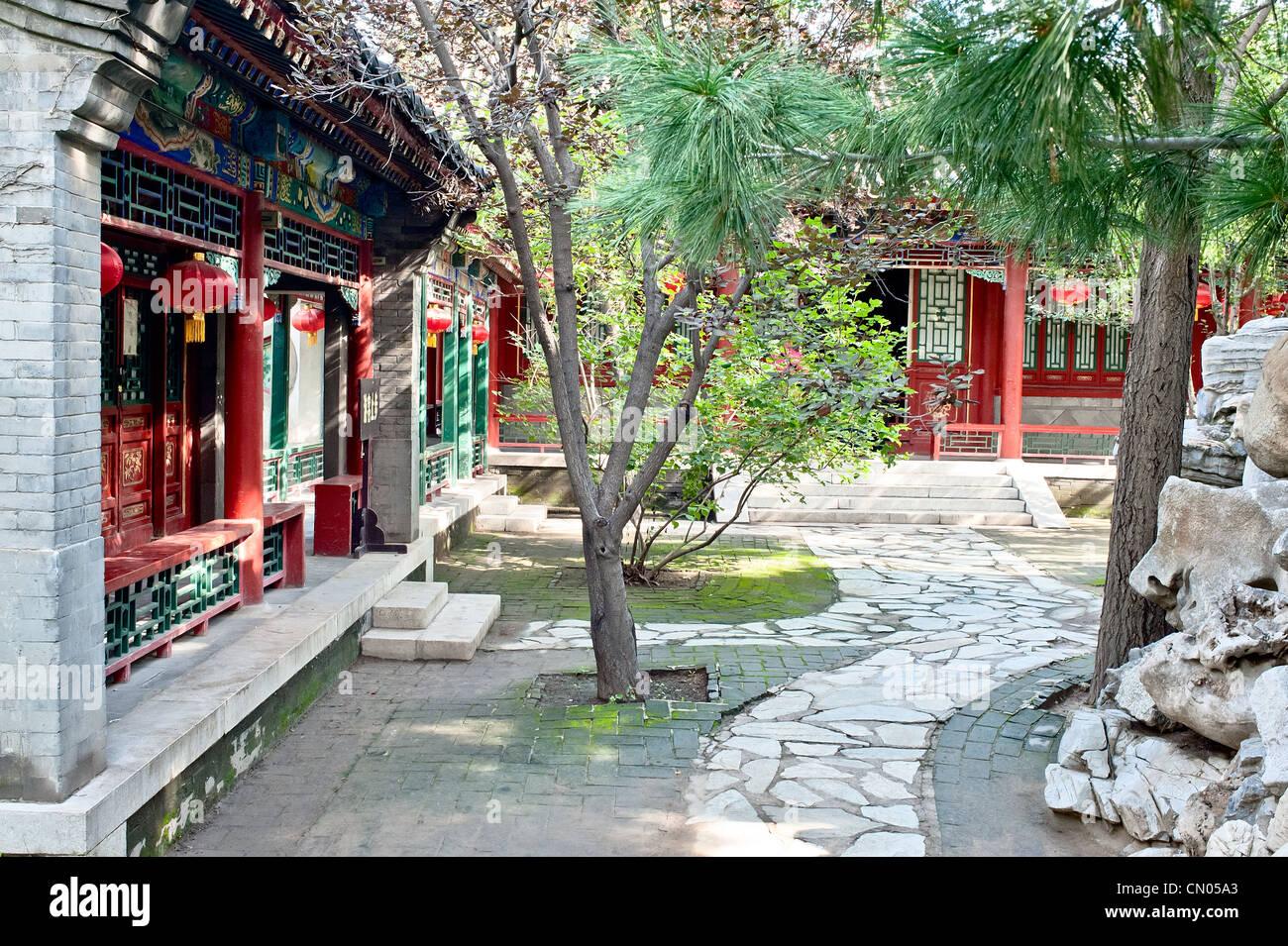 Chinese style garden - yard - Stock Image