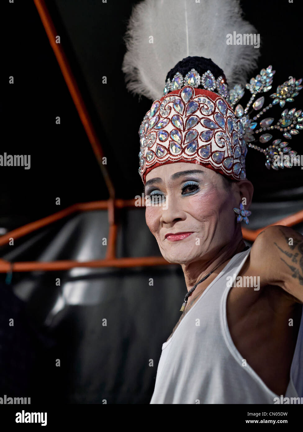 Thailand transsexual actor backstage prior to performance - Stock Image