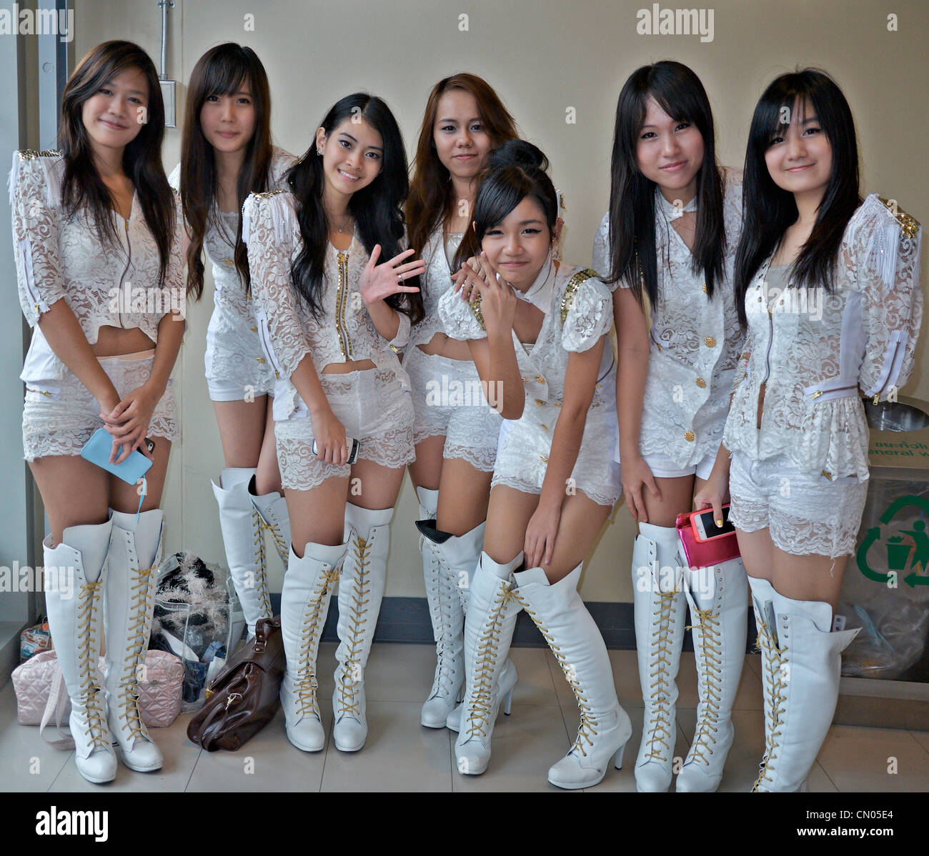 Thailand school girls crossed legs thought