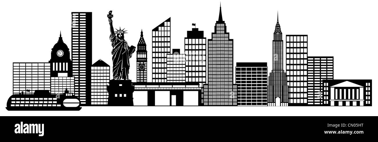 New York City Skyline Panorama Black and White Silhouette ...