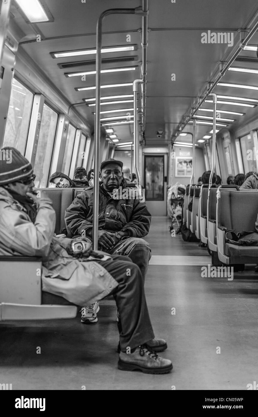 BART train car in San Fransisco Bay area. - Stock Image