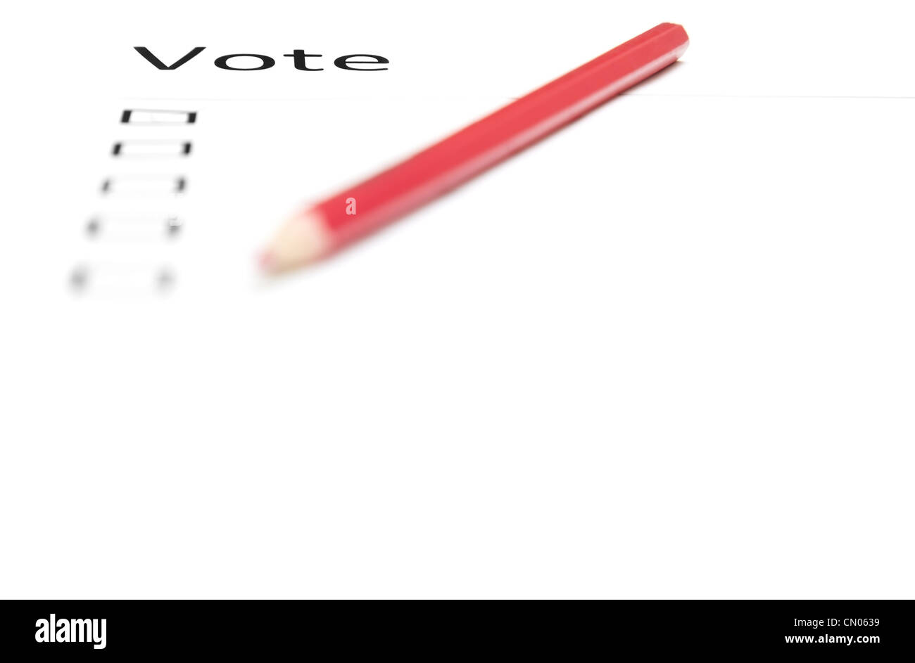 Voting bulletin with red pencil to make choice - Stock Image