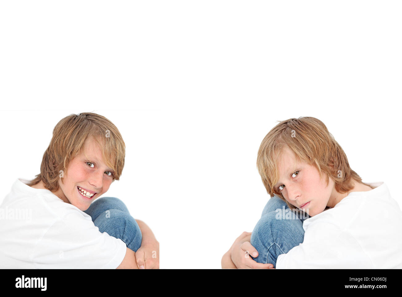 happy sad, twins with different personalities - Stock Image