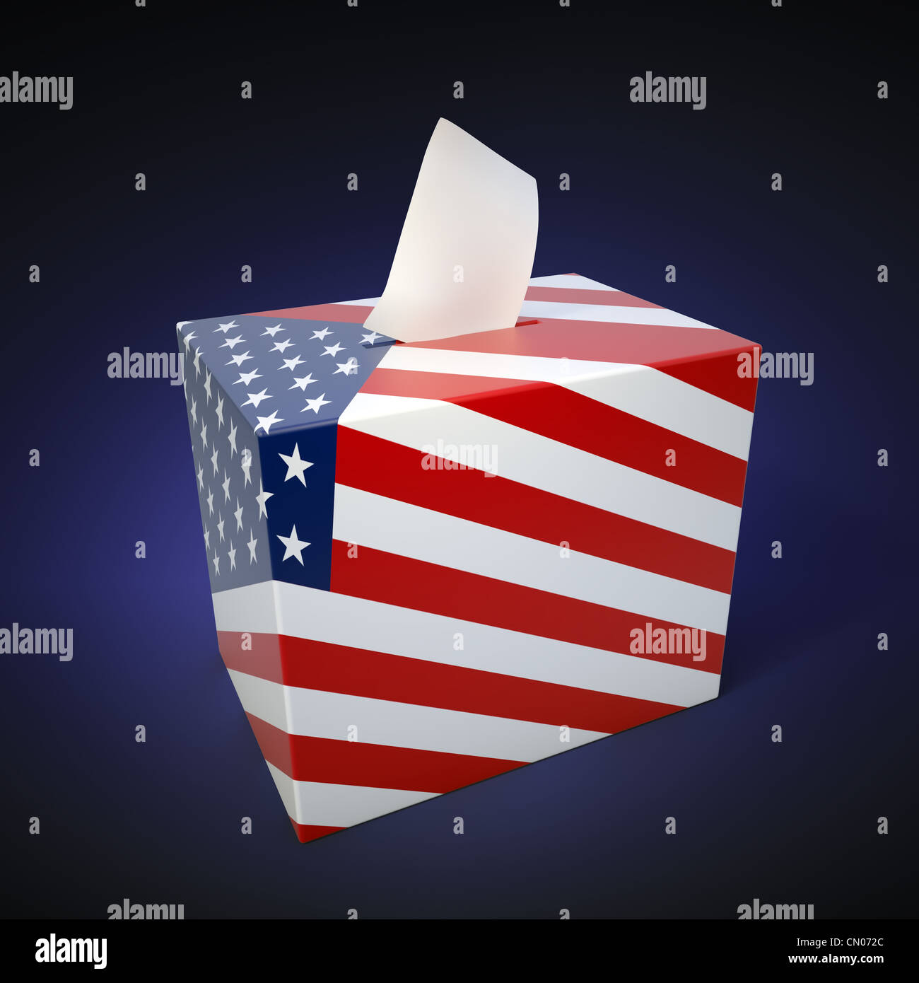 US elections - ballot box with flag colors - Stock Image