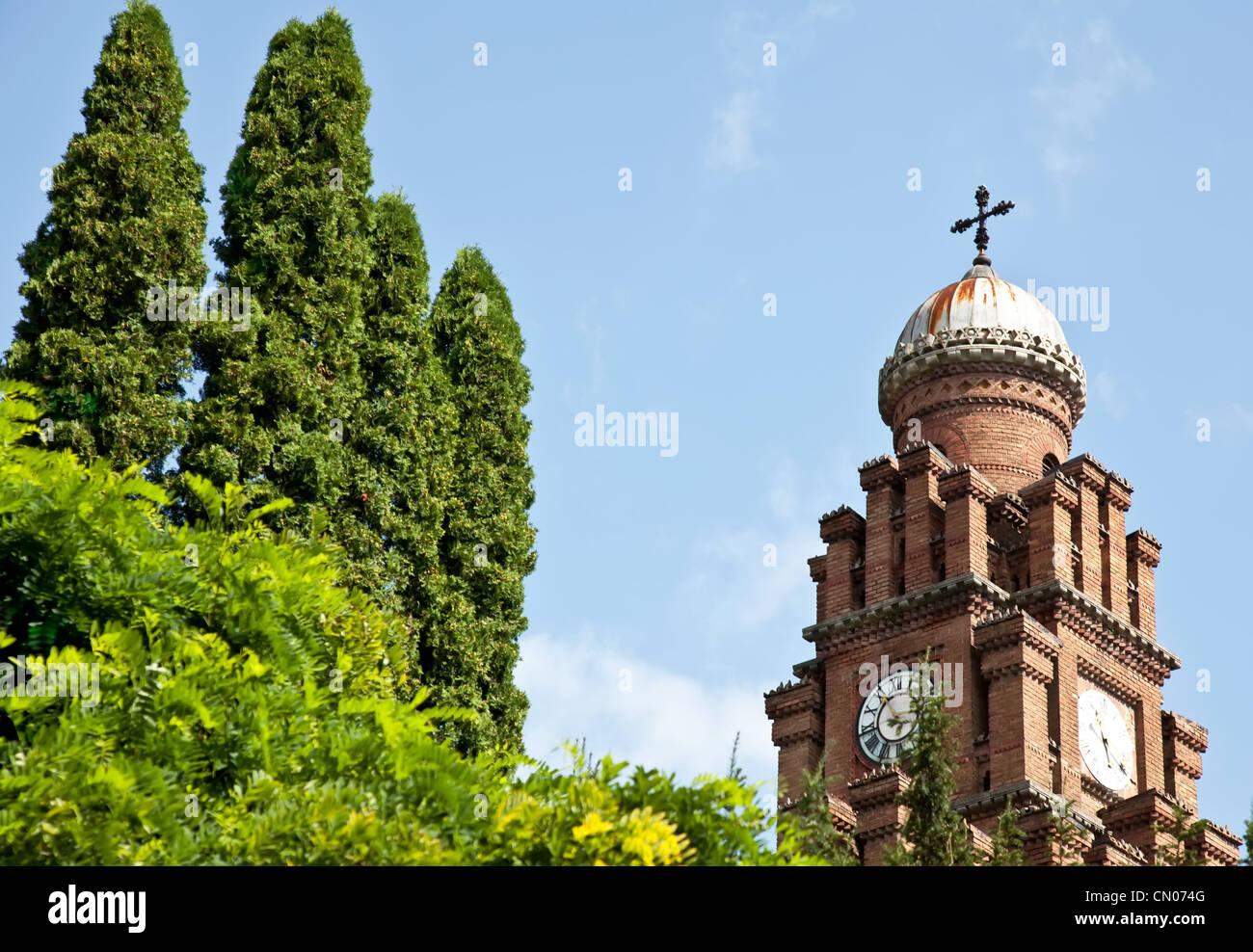 Chernovtsy University tower in summer in Ukraine - Stock Image