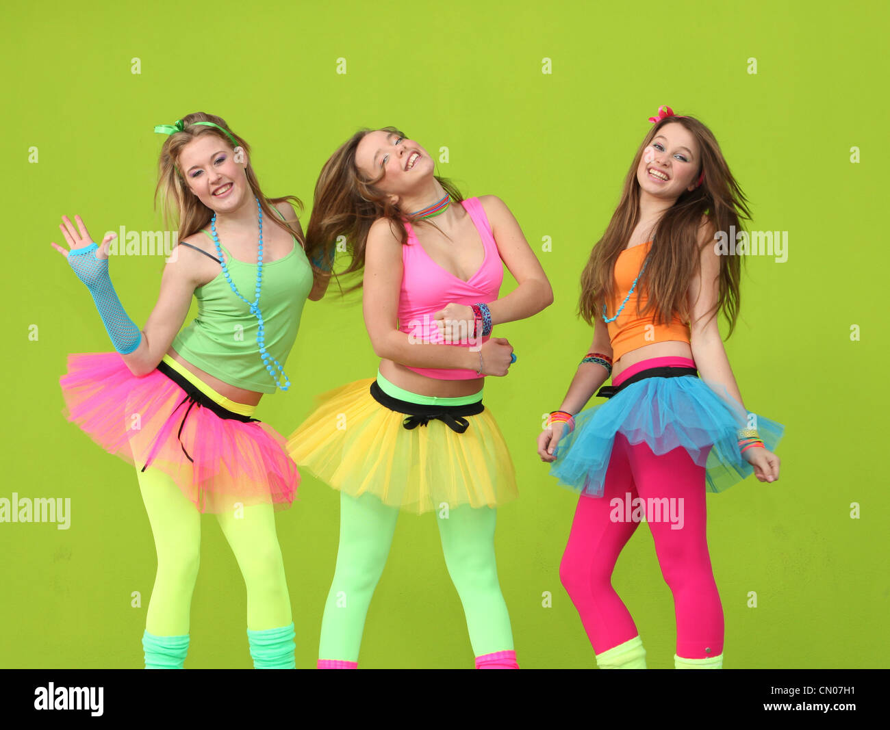 happy kids dancing at party - Stock Image