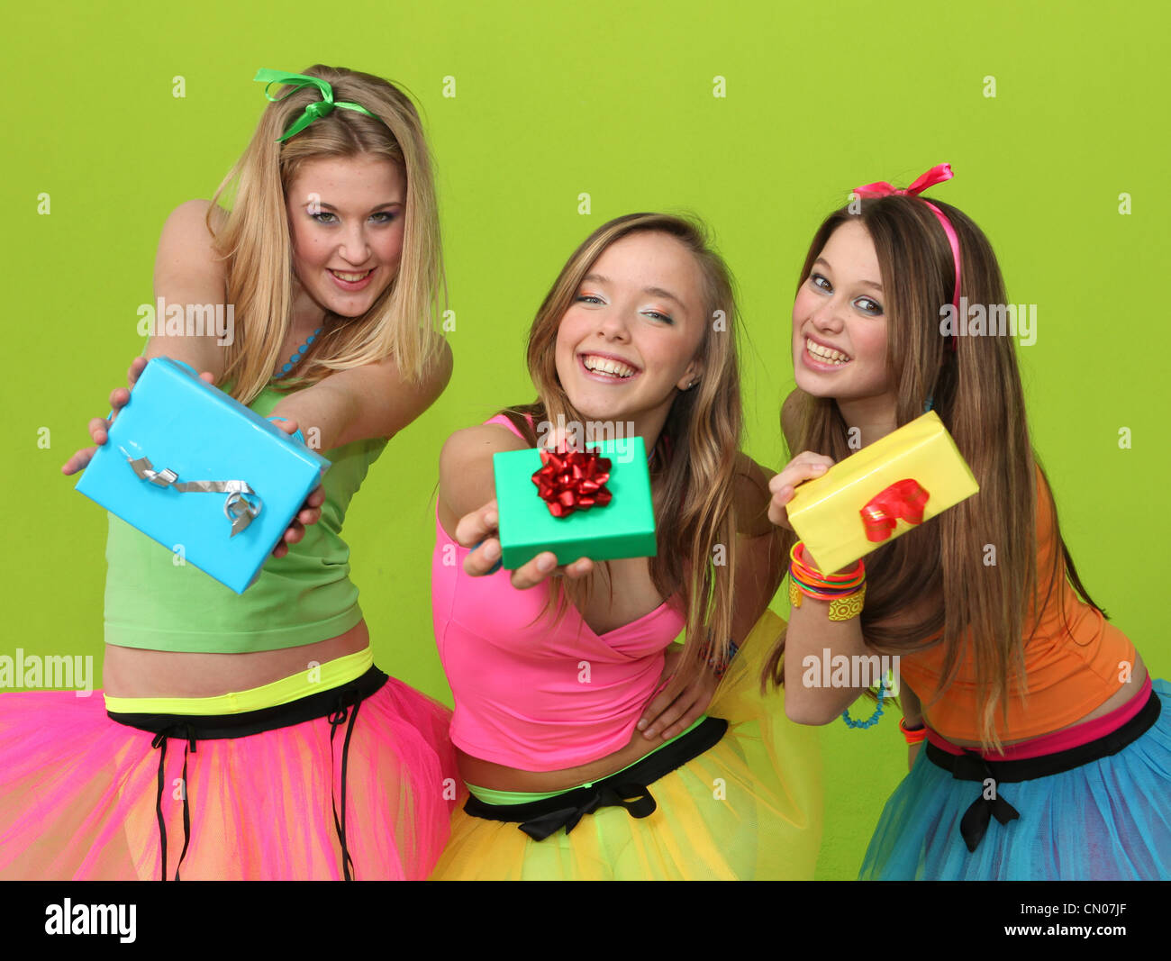 birthday party teens with gifts - Stock Image