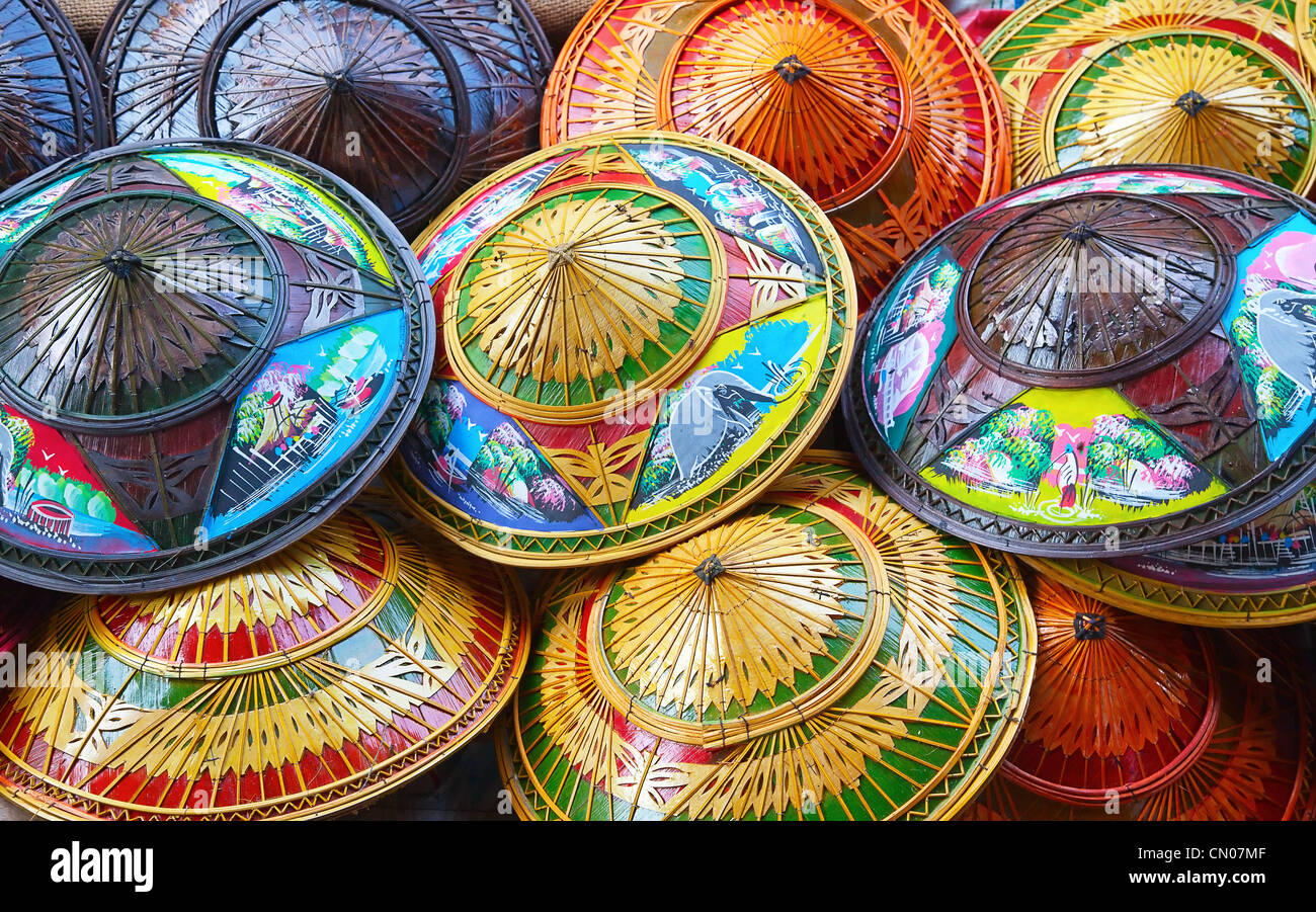 fa8ea06fccc Group of colorful rice straw hats on the floating market Stock Photo ...
