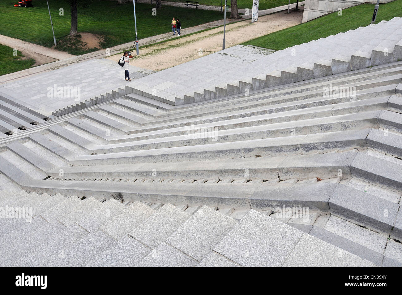 stairs fountain Bercy park Paris France Stock Photo