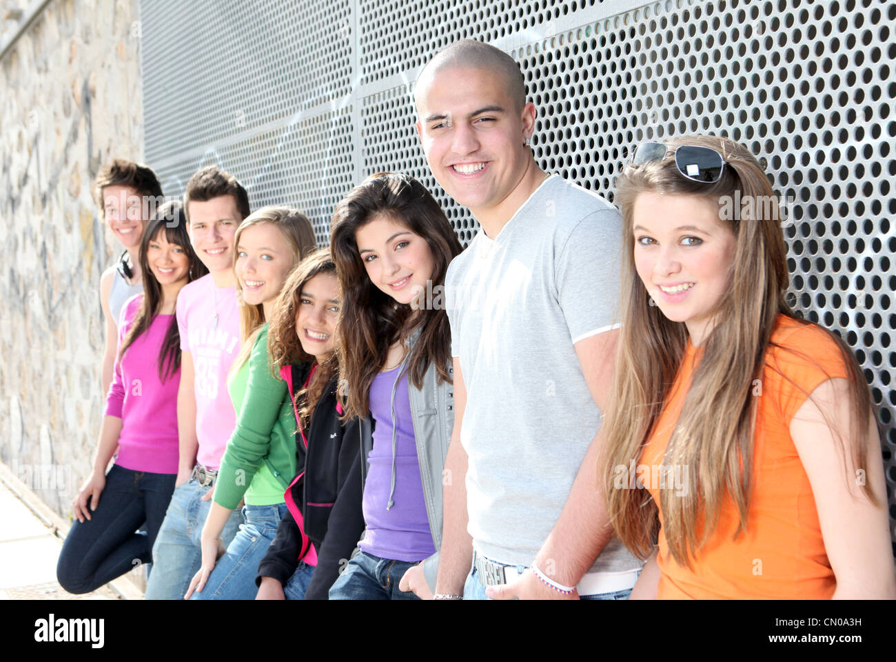 diverse group of students or teens - Stock Image