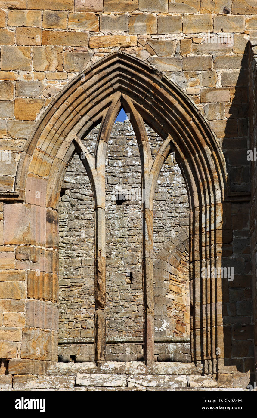 Window and Arch Detail Egglestone Abbey Near Barnard Castle County Durham UK - Stock Image