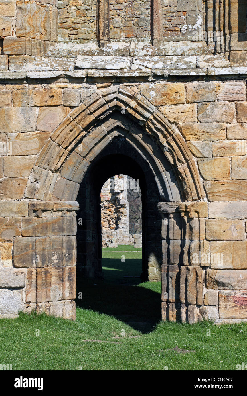 Doorway into the Nave Egglestone Abbey Near Barnard Castle County Durham UK - Stock Image