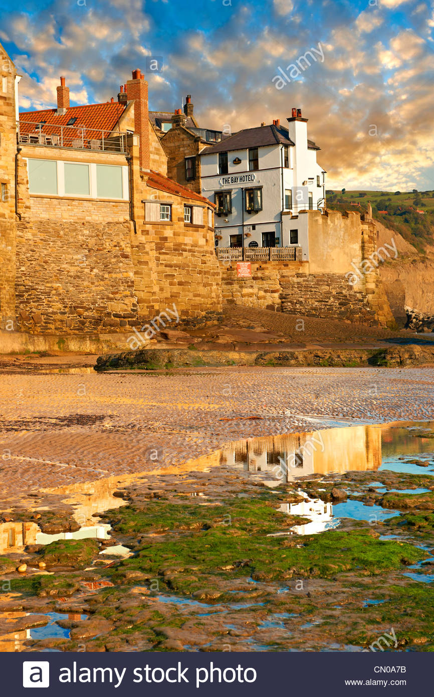 Fishermans houses & beach of the historic fishing village of Robin Hood's Bay, Near Whitby, North Yorkshire, - Stock Image