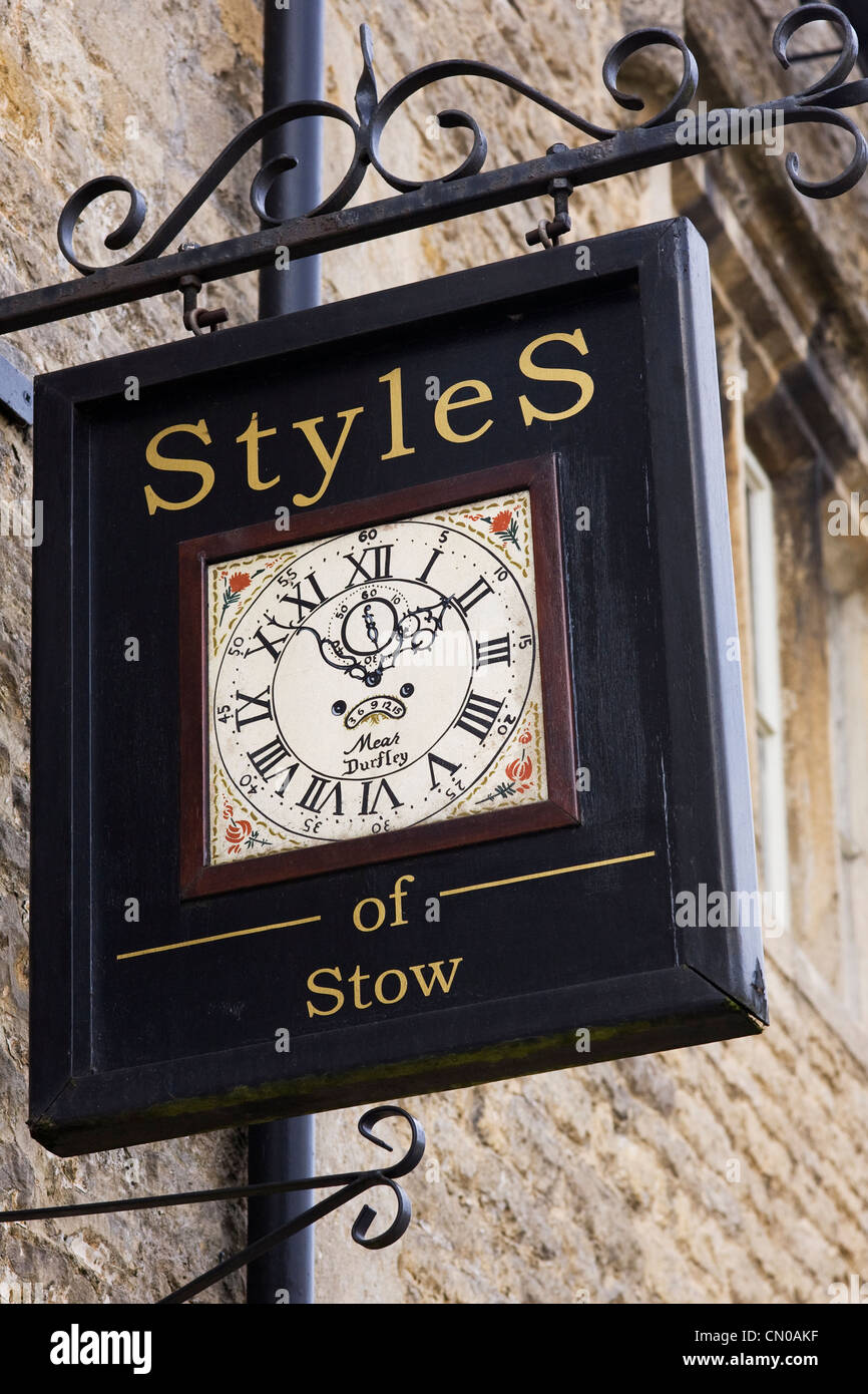 Styles of Stow sign. Antique clock specialists in Stow on the Wold. Stock Photo