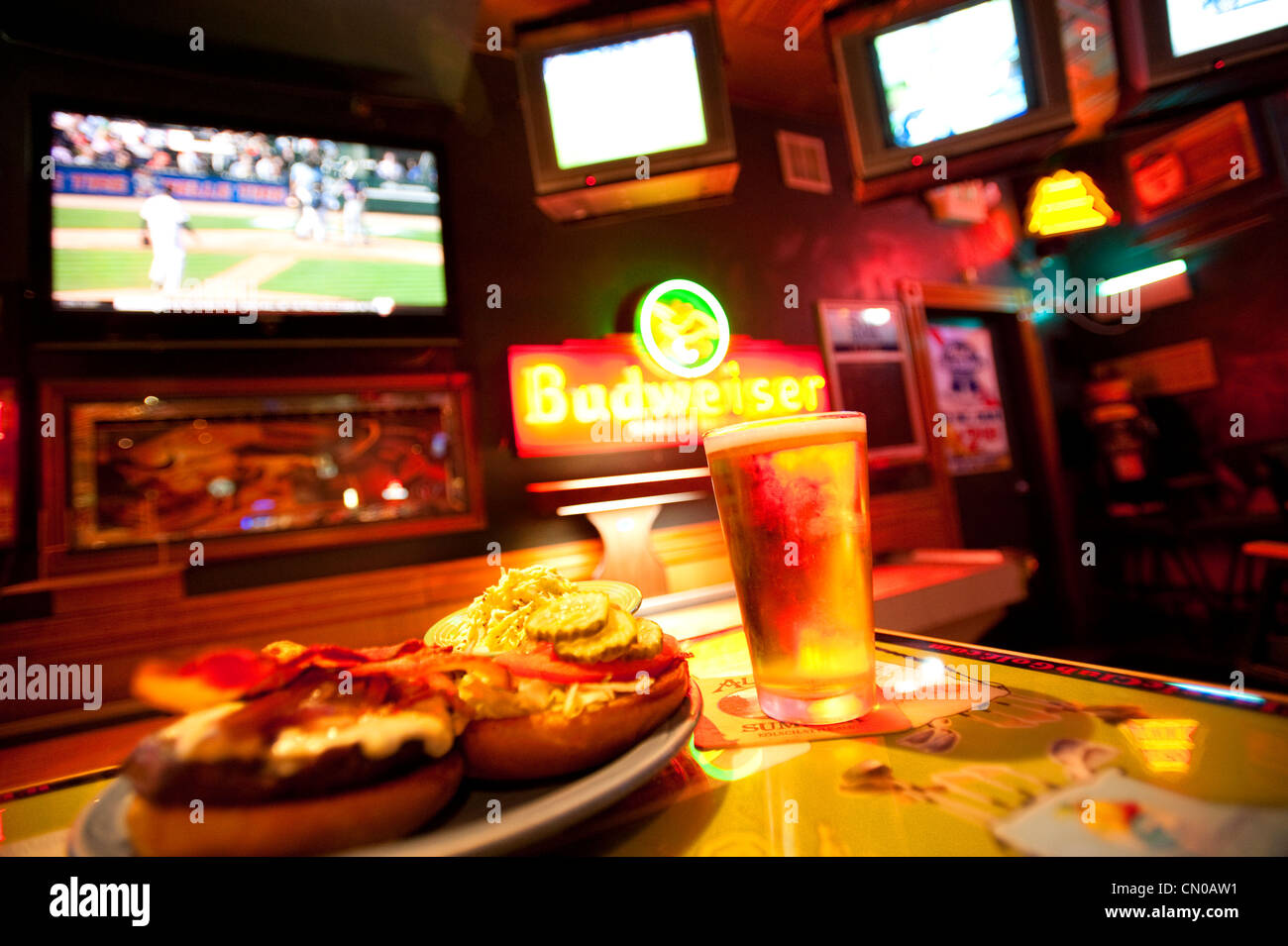Sports Bar Interior With Beer Burger And Multiple Tv Monitors Stock Photo Alamy