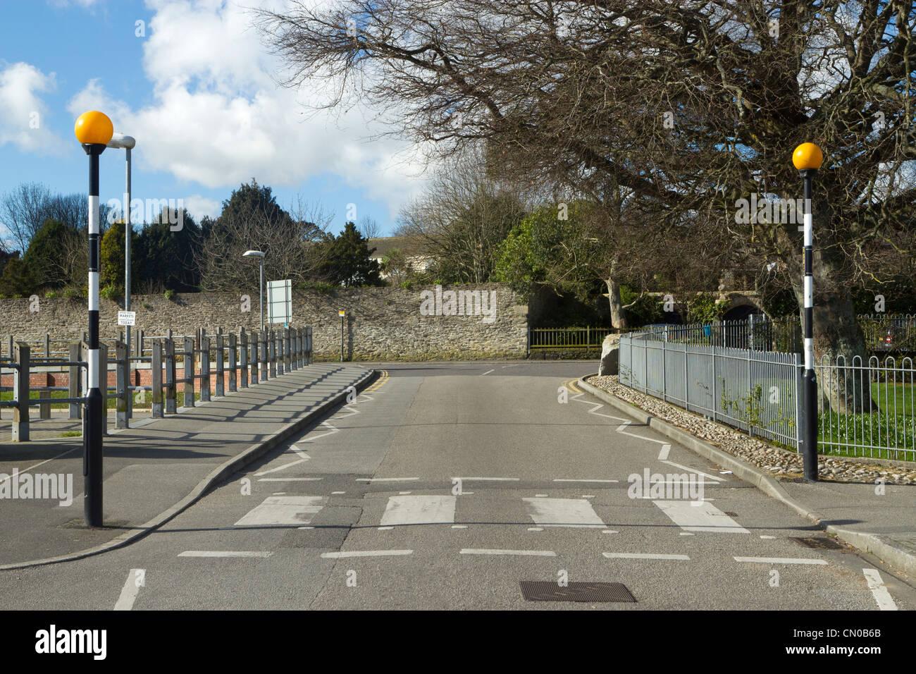 British Zebra crossing in Cornwall UK. Stock Photo