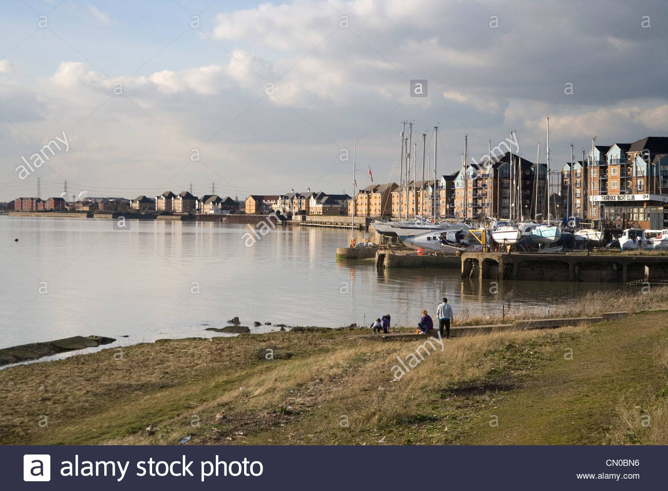 apartments at grays on the north bank or the thames in London - Stock Image