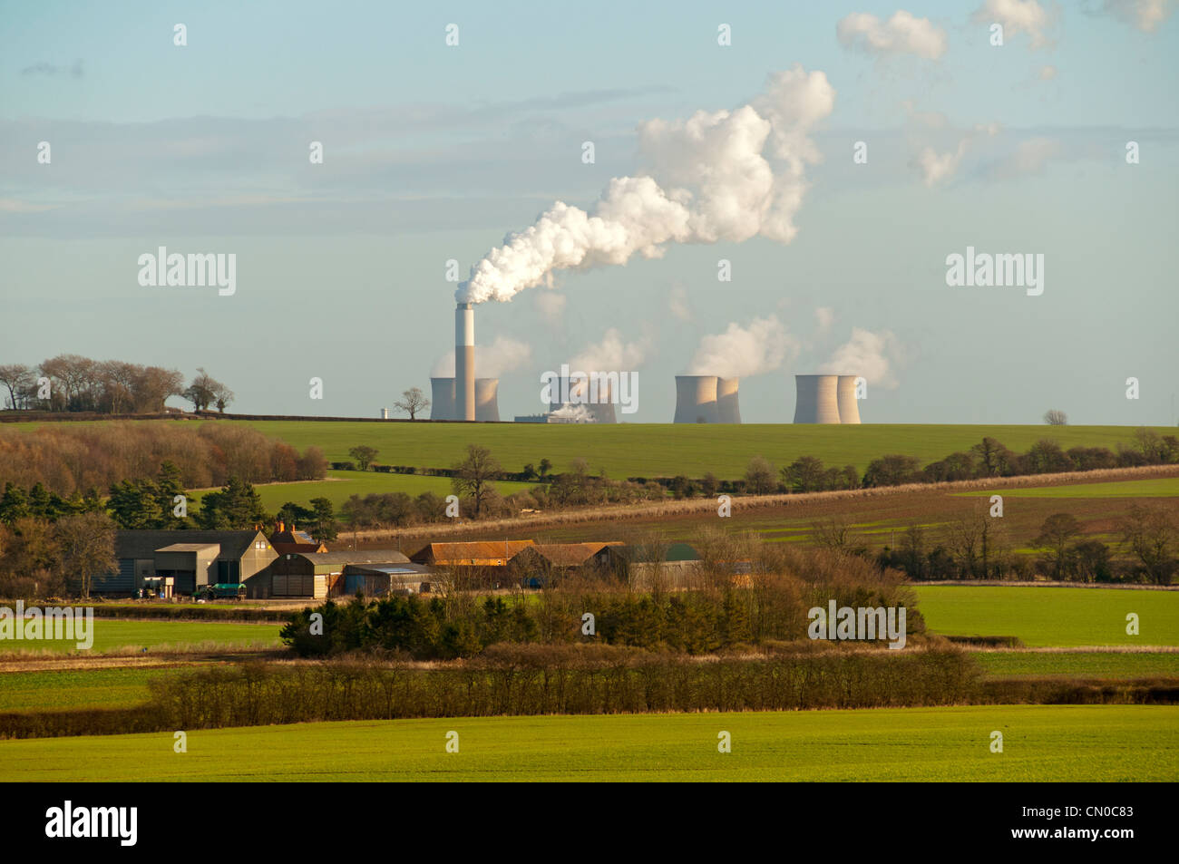 The cooling towers of Cottam Power Station, near Retford, Nottinghamshire, England, UK - Stock Image