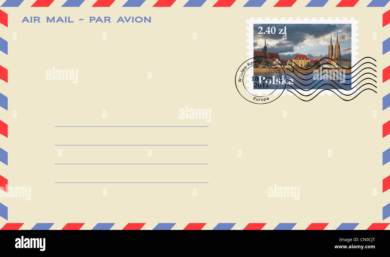 Air mail envelope with a stamp from Poland. Dome island, the Dome and the Church of the Holy Cross, Wroclaw county, - Stock Image