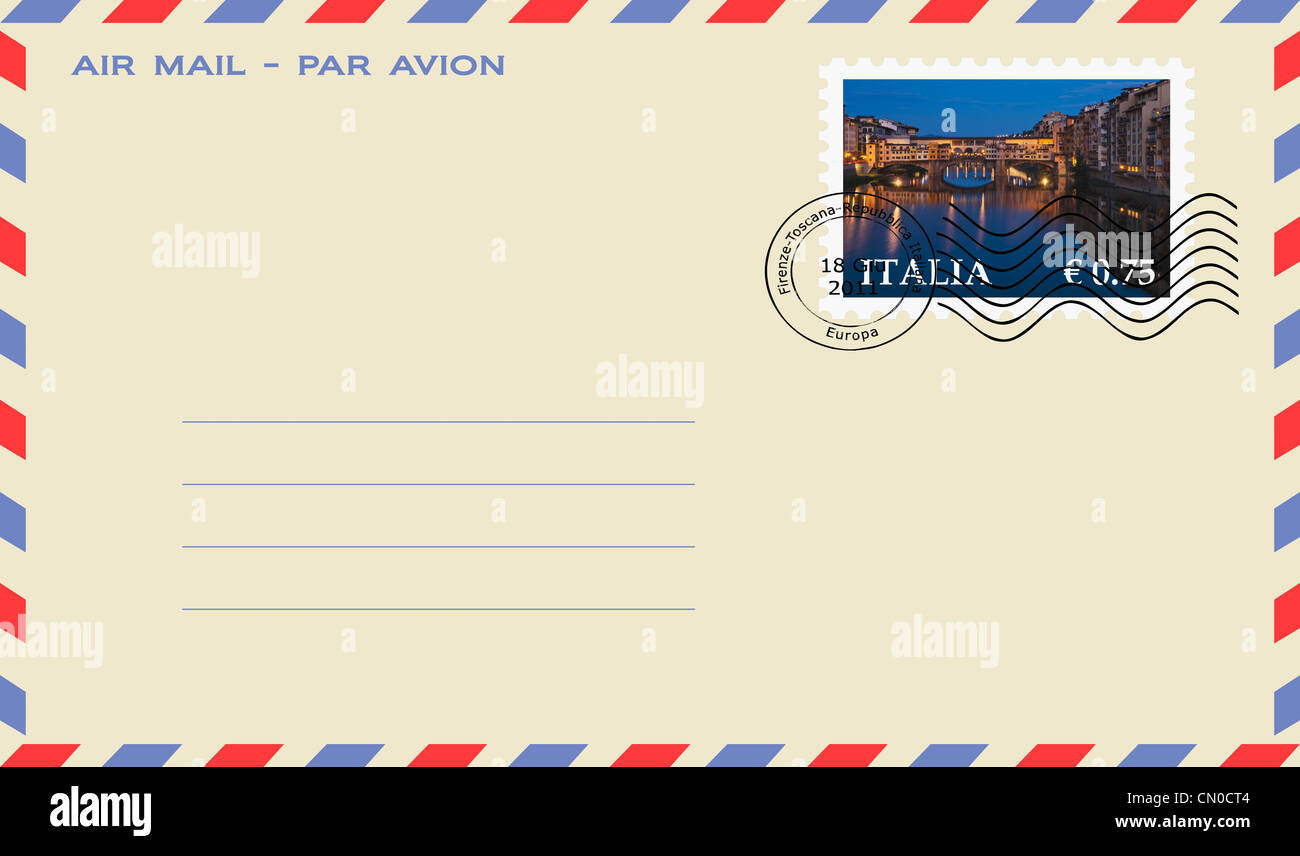 Air mail envelope: View over the River Arno to the Bridge Ponte Vecchio, Florence, Tuscany, Italy, Europe - Stock Image