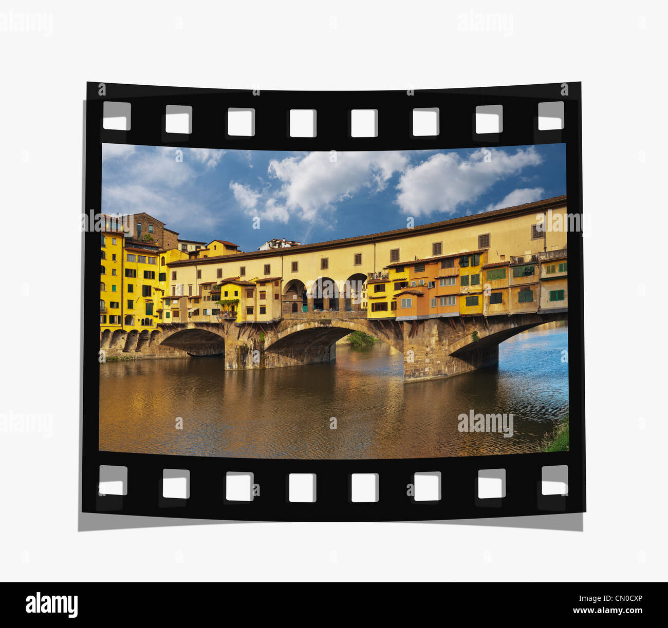 Filmstrip: View over the River Arno to the Bridge Ponte Vecchio, Florence, Tuscany, Italy, Europe - Stock Image