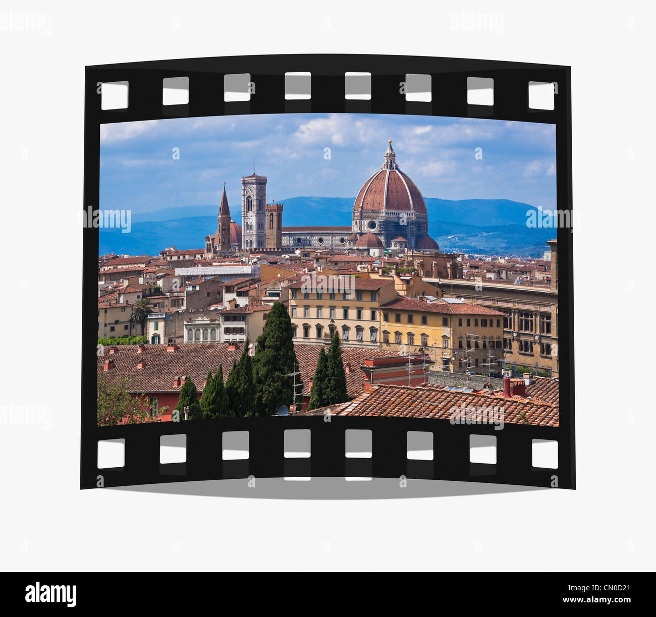 Filmstrip: View to the Cathedral Duomo Santa Maria del Fiore and the bell tower Florence, Tuscany, Italy, Europe - Stock Image