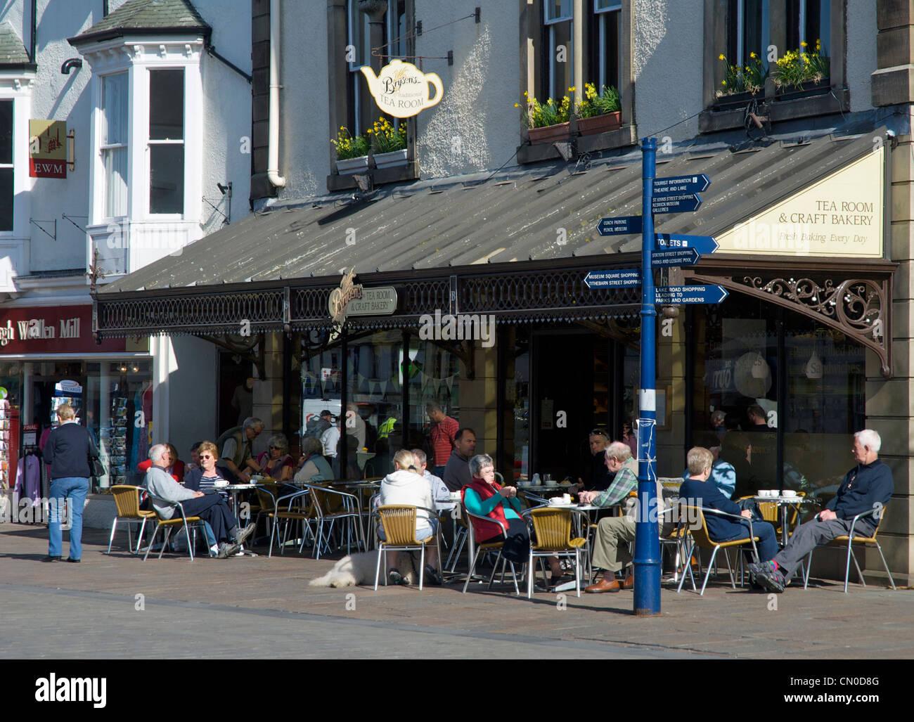 Bryson's Tea Room & Craft Bakery, Market Place, Keswick, Lake District National Park, Cumbria, England UK - Stock Image