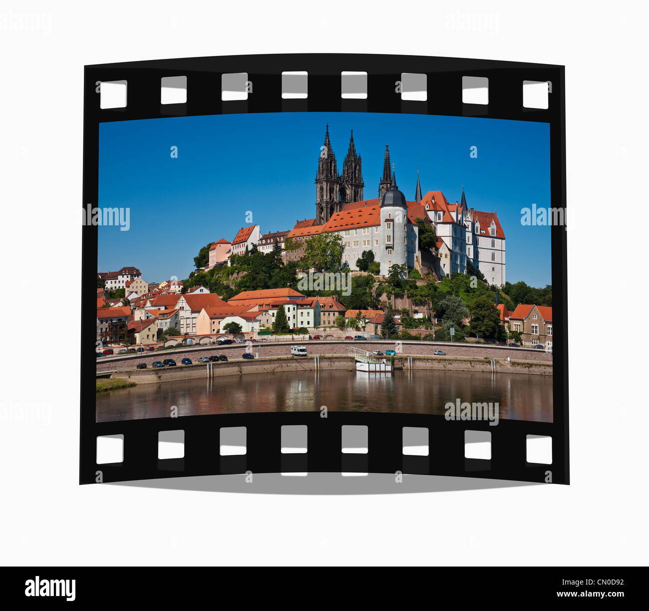 Filmstrip: View over the Elbe river to Albrechtsburg Castle, Meissen, Saxony, Germany, Europe - Stock Image