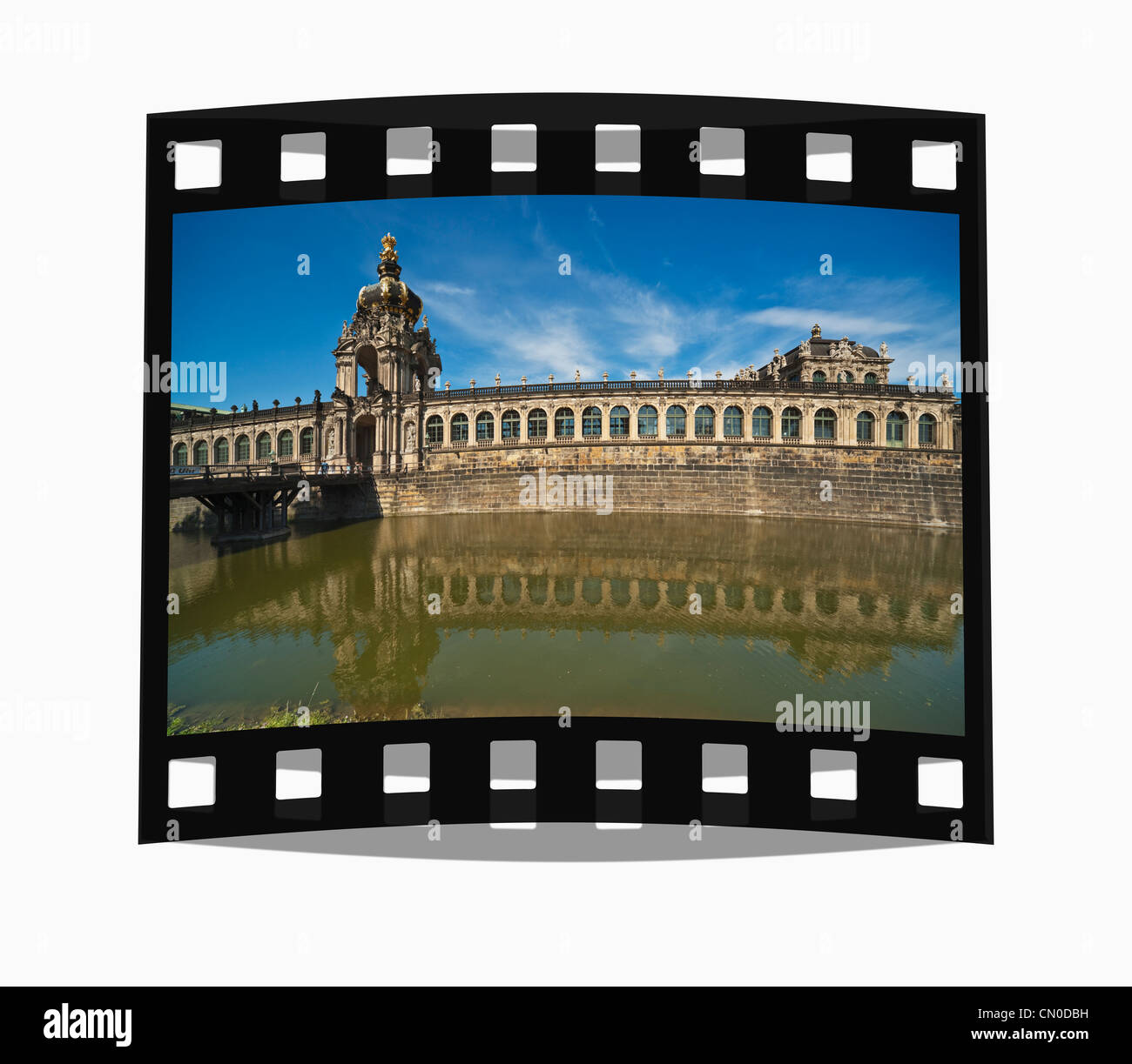 Filmstrip: View over Zwinger moat to Crown Gate, Dresden, Saxony, Germany, Europe - Stock Image