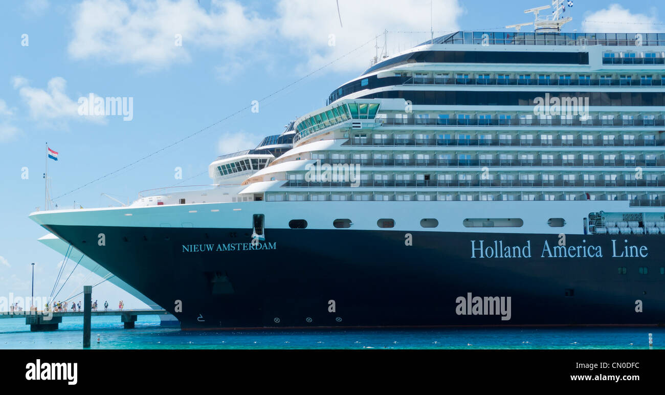 The bow of Holland America Line's Nieuw Amsterdam cruise ship at dock in Grand Turk, Turks and Caicos Islands, - Stock Image