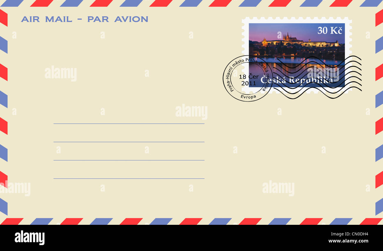 air mail envelope with a stamp: View over Vltava River to the Prague Castle, Prague, Czech Republic, Europe. - Stock Image