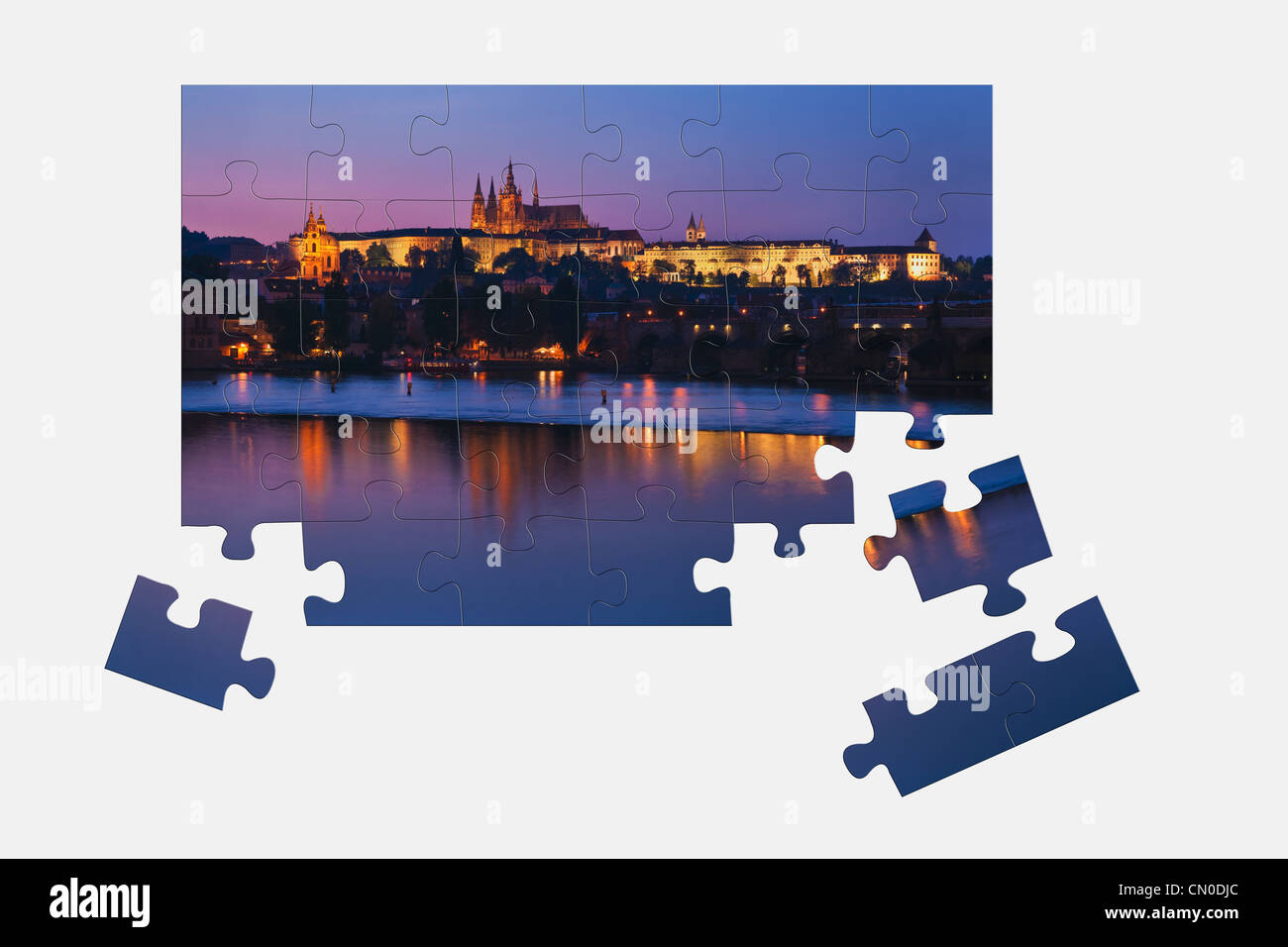 Puzzle: View over Vltava River to the Prague Castle, Prague, Czech Republic, Europe. - Stock Image