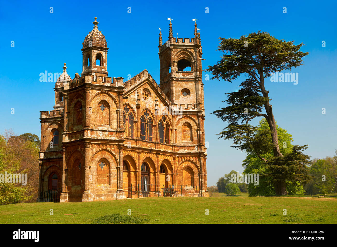 The Gothic Temple of Stowe House in the formal gardens of the English stately home of the Duke of Buckingham - Stock Image