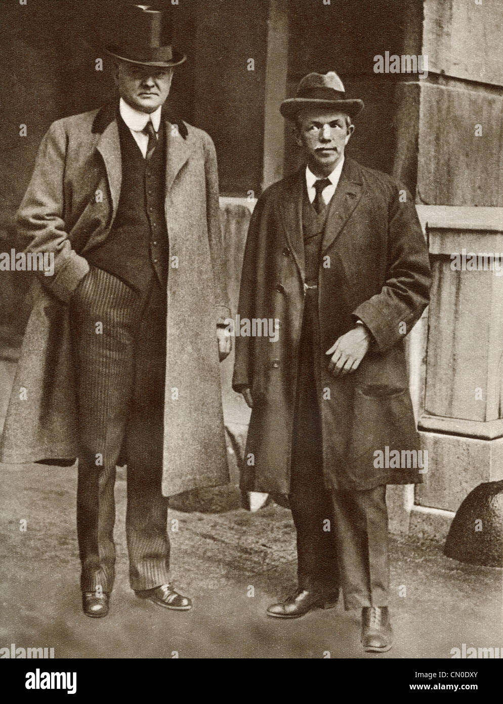 Mr. Hoover, left and Mr. Clynes, right. Food Controllers respectively for England and America during World War I - Stock Image
