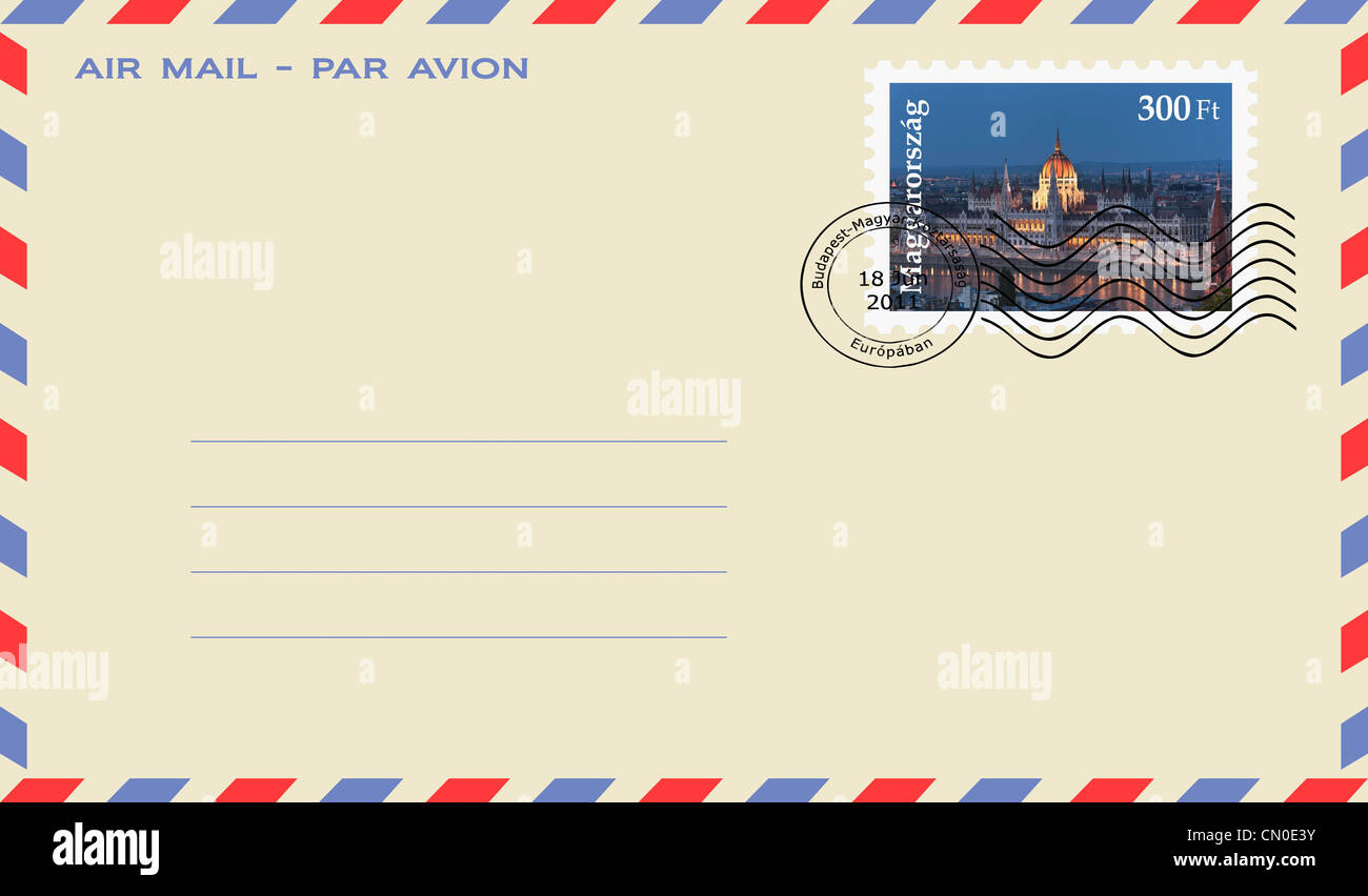 air mail envelope with a stamp: world largest Parliament, built from 1885-1904,  Budapest, Hungary, Europe. - Stock Image