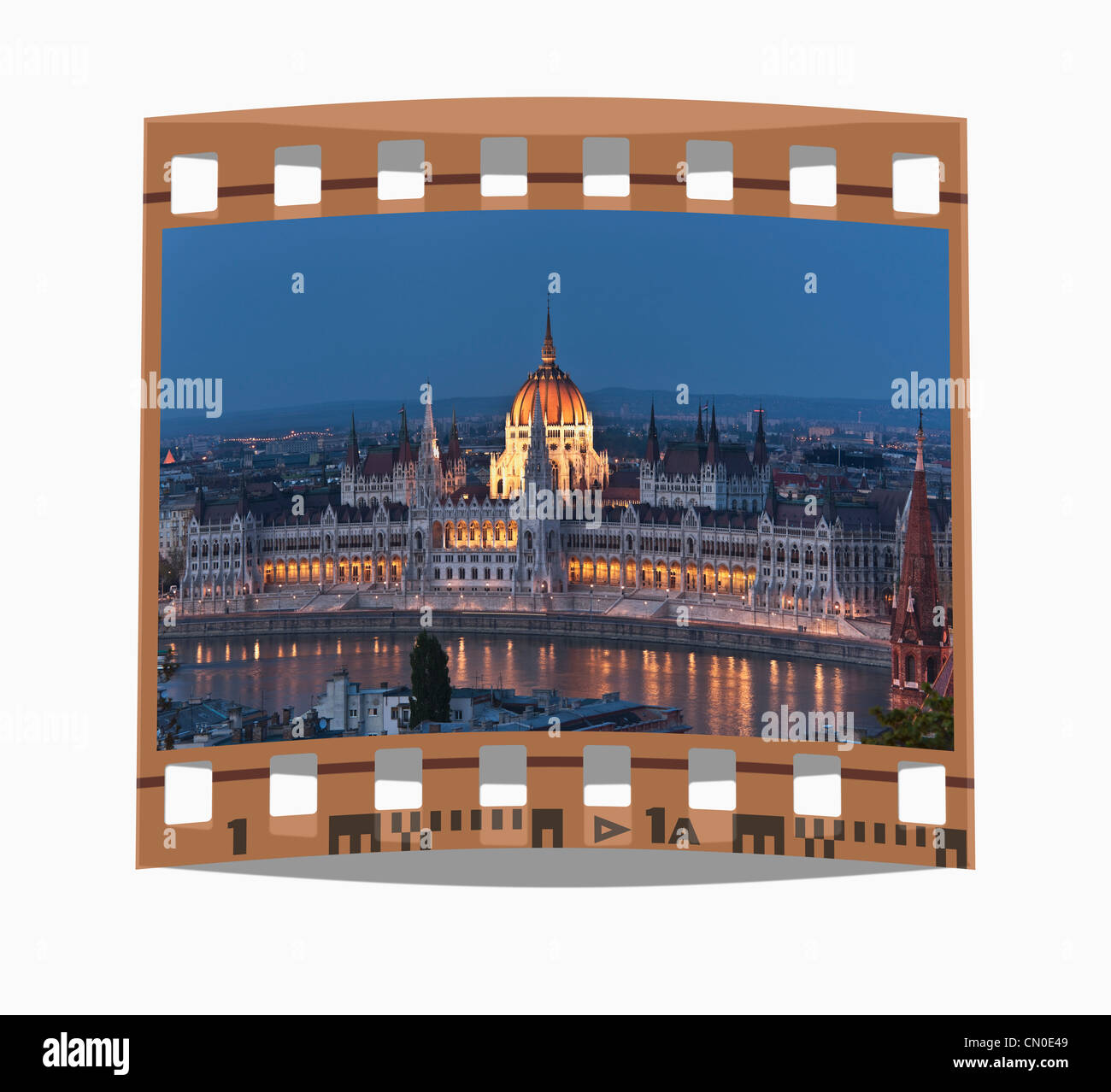 Filmstrip: world largest Parliament, built from 1885-1904,  Budapest, Hungary, Europe. - Stock Image