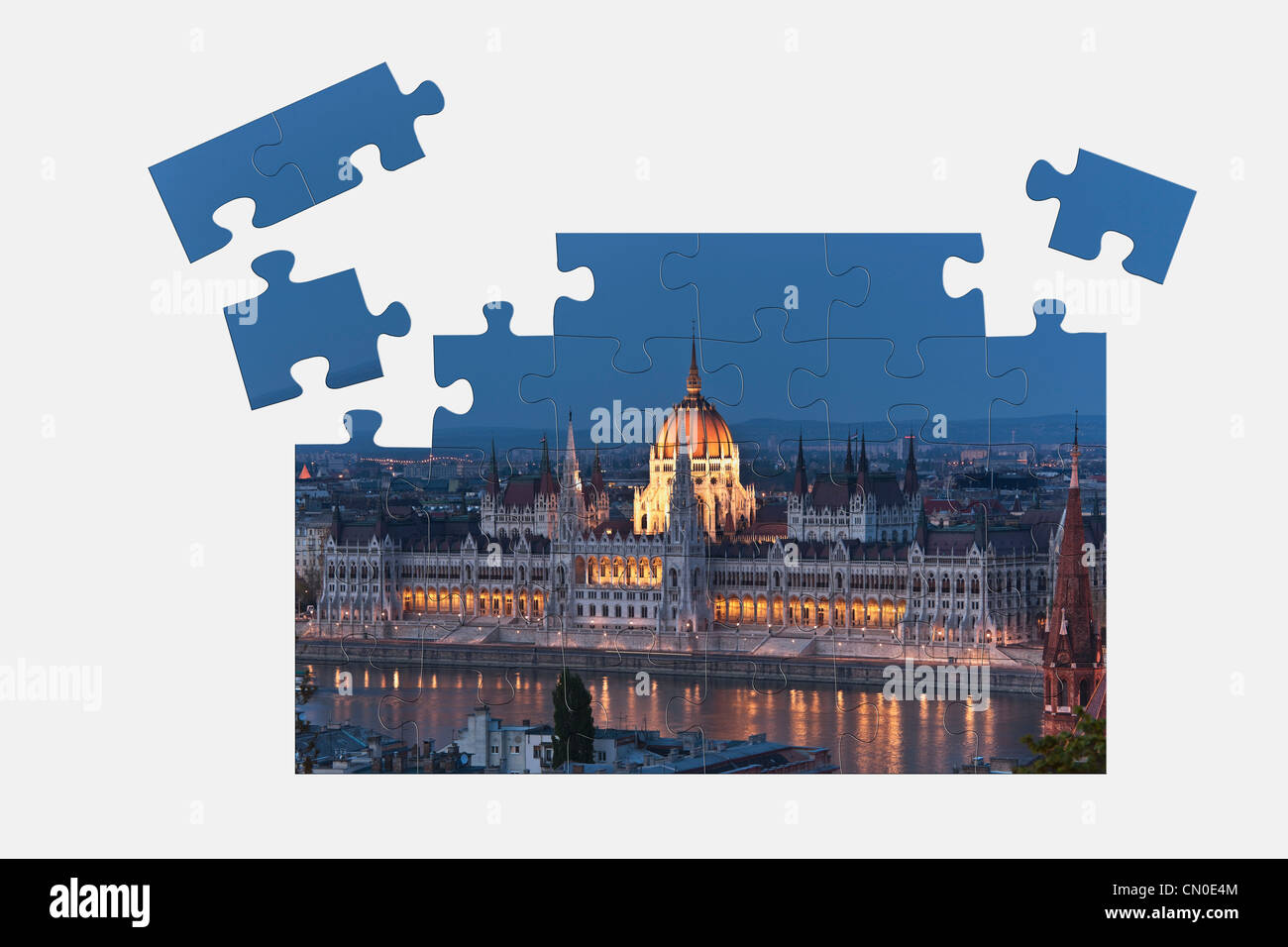 Puzzle: world largest Parliament, built from 1885-1904,  Budapest, Hungary, Europe. - Stock Image