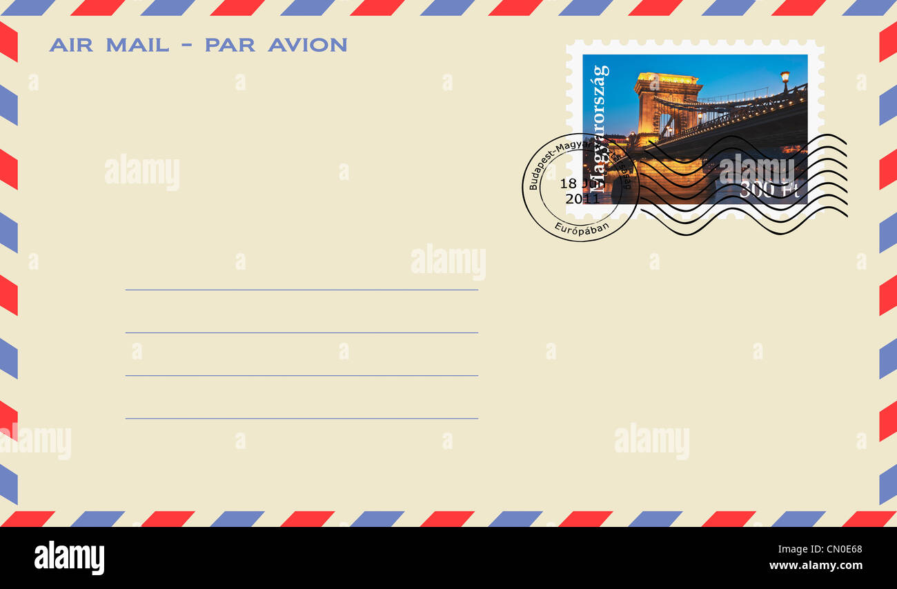 Air mail envelope with a Stamp: Szechenyi Chain Bridge at night, Budapest, Hungary, Europe - Stock Image