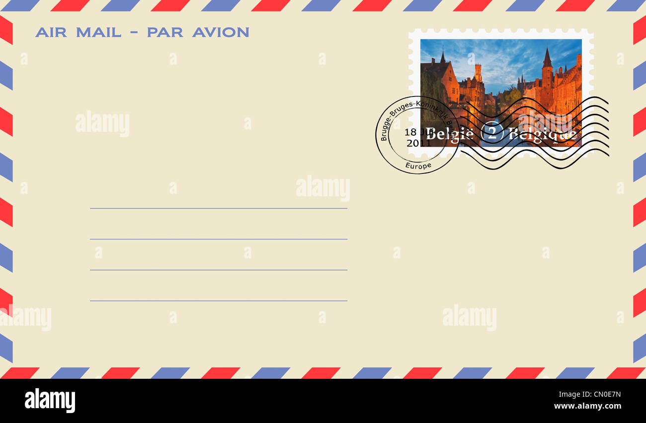 air mail envelope with a stamp :  View from Rozenhoedkaai via the Reie river to Belfry, Bruges, Belgium, Europe - Stock Image