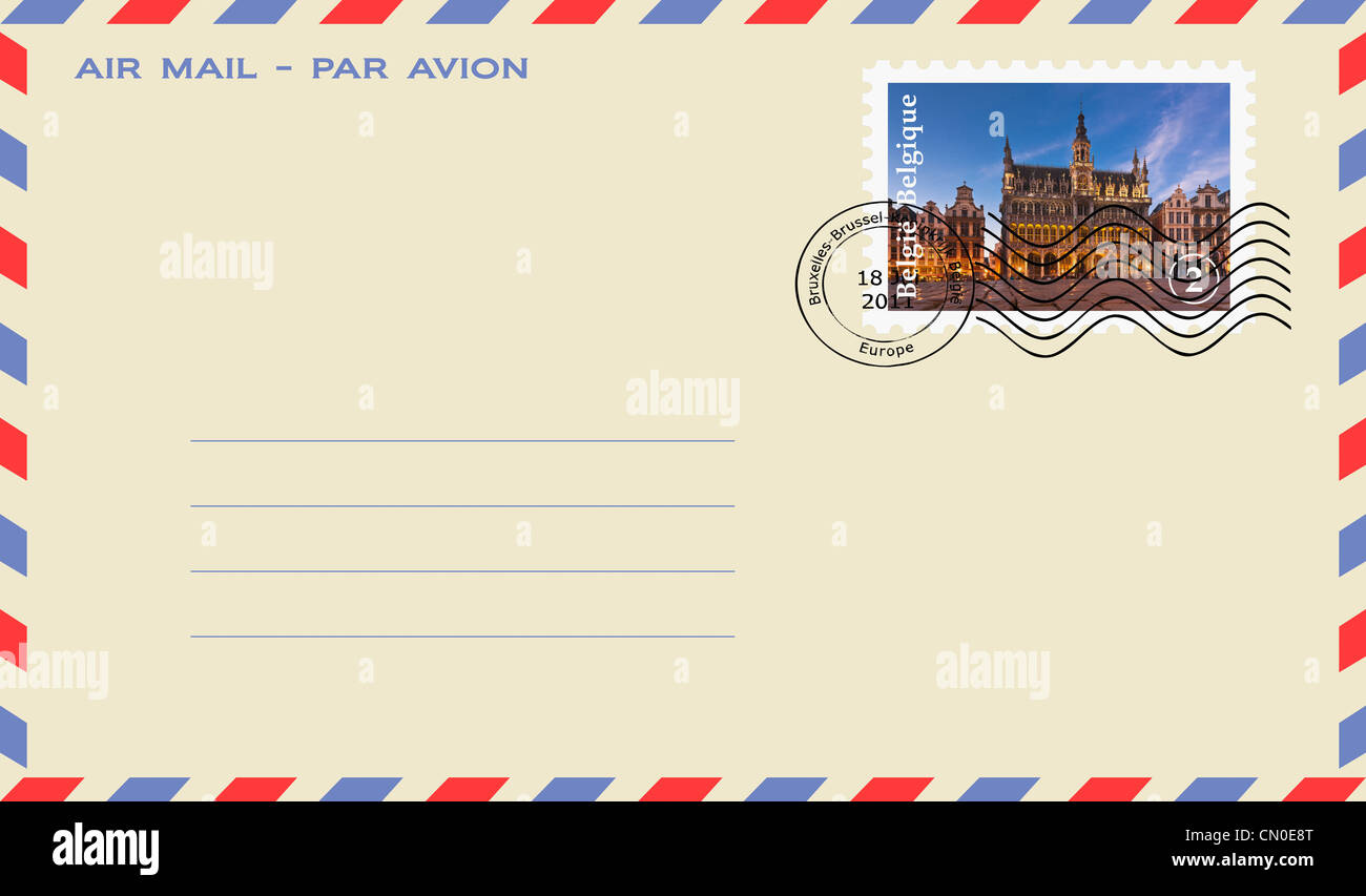 Air mail envelope with a Stamp: Grand Place, market square with baroque guild houses and Kings house, Brussels, - Stock Image