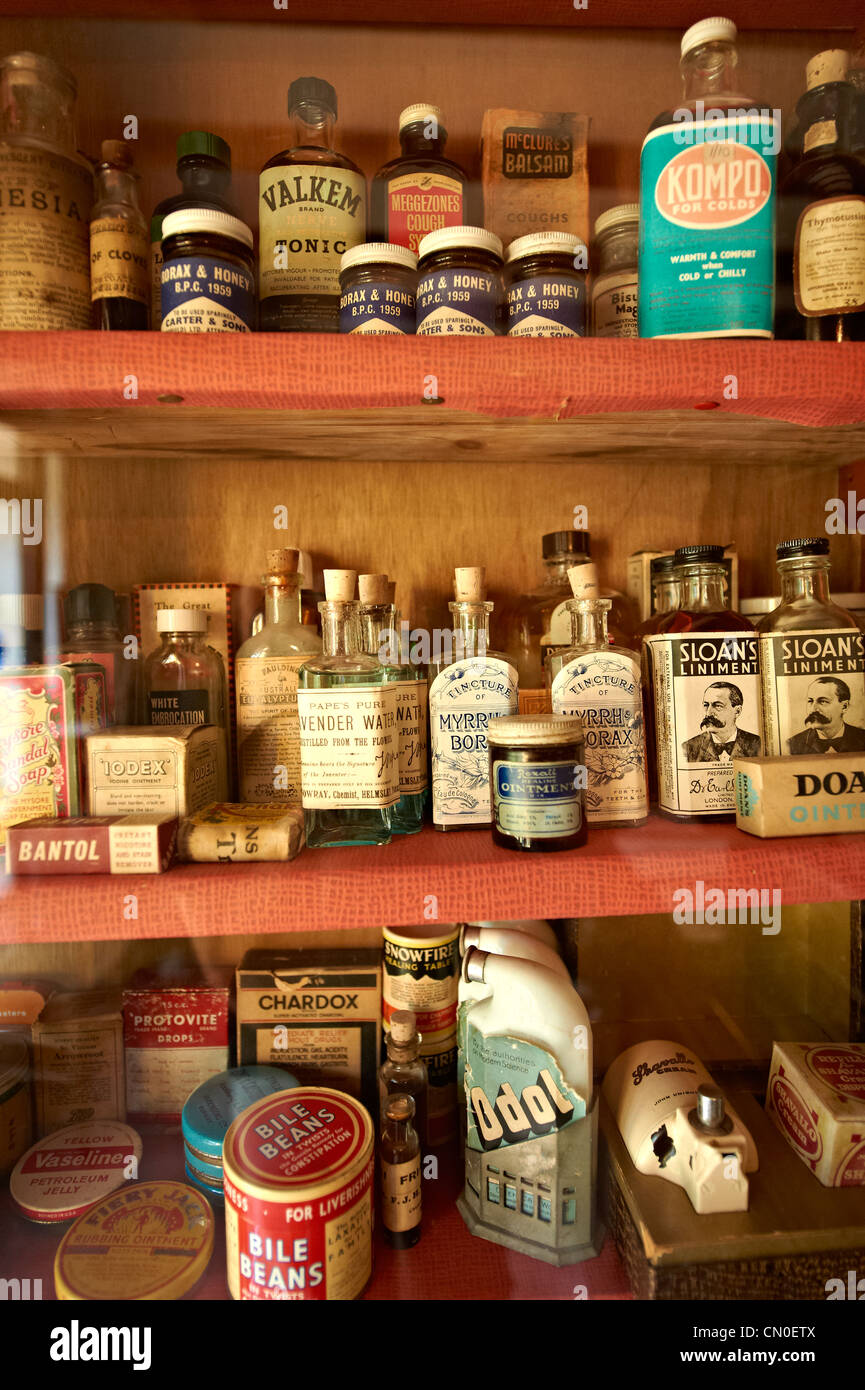 Inside of the old Village chemist at Ryedale Folk Museum, Hutton Le Hole, North Yorks Moors National Park, Yorkshire, - Stock Image