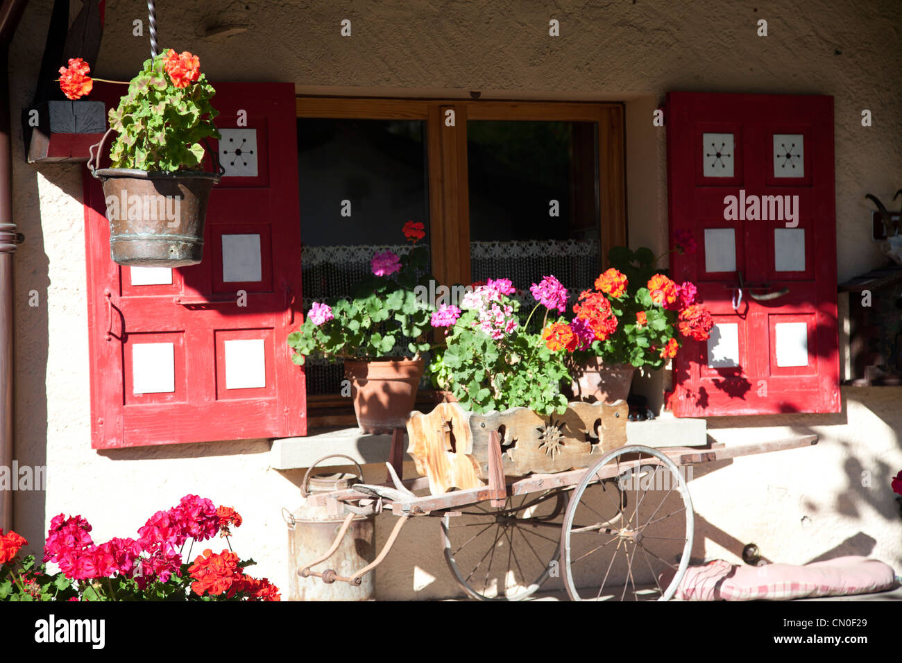 Window box detail with pretty flowers at chamonix. Stock Photo