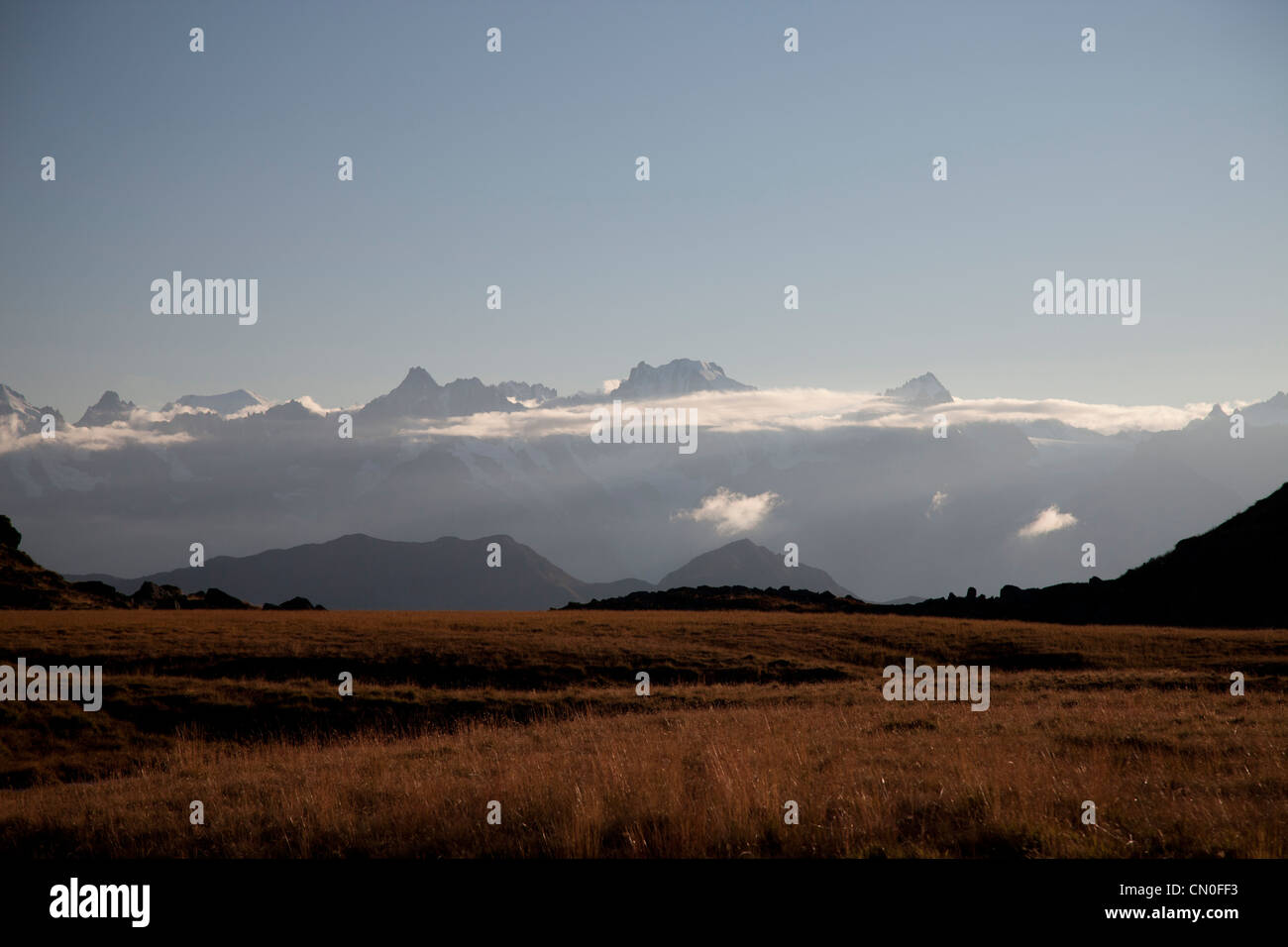View from Cabane Du Mont Fort, looking towards the' Grand Combin' and the 'Glacier de Corbassiere'. - Stock Image
