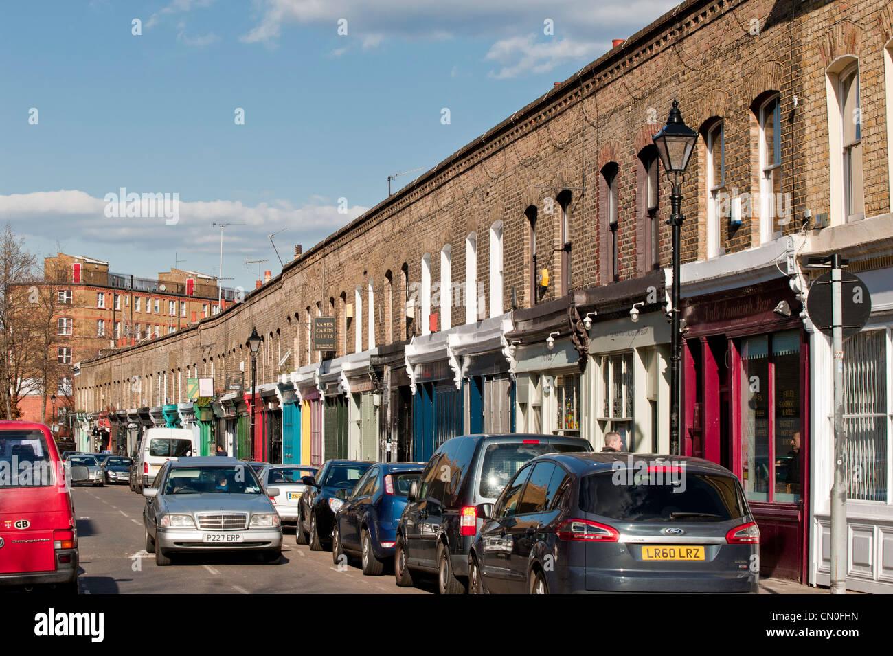 Shops on Columbia Road, London, United Kingdom - Stock Image
