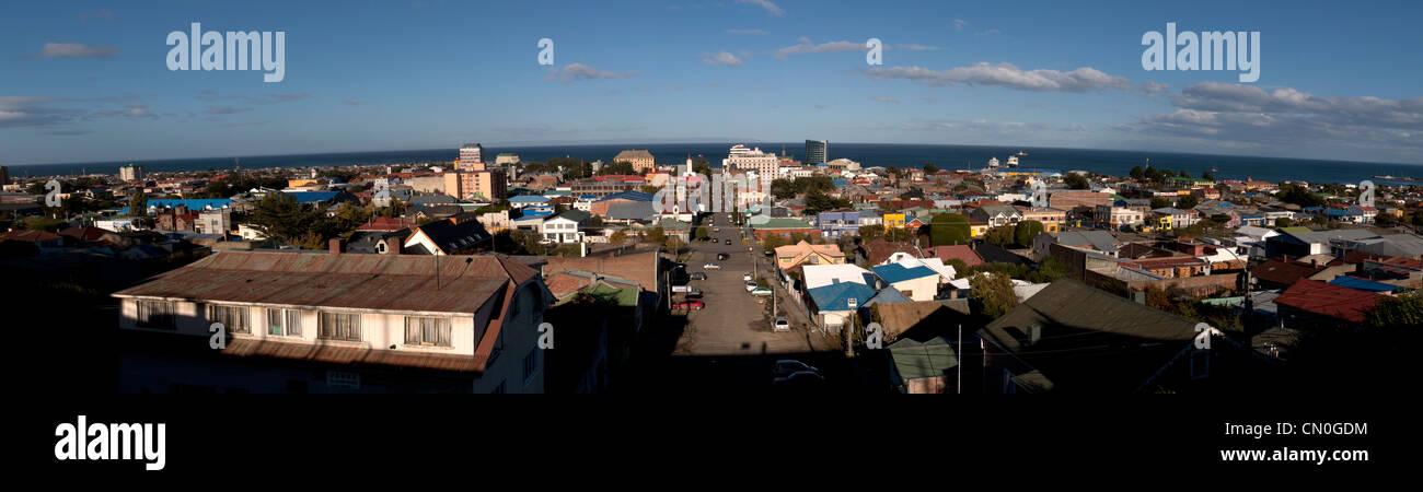 Panoramic view of the city, Punta Arenas, Magellan strait, Patagonia, Chile, South America - Stock Image